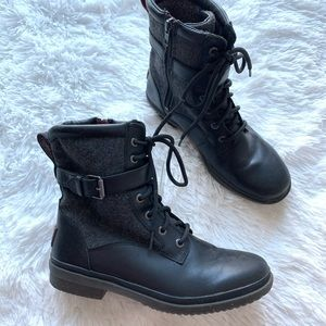UGG Kesey Black Grey Wool Shaft Leather Boots Sz 8